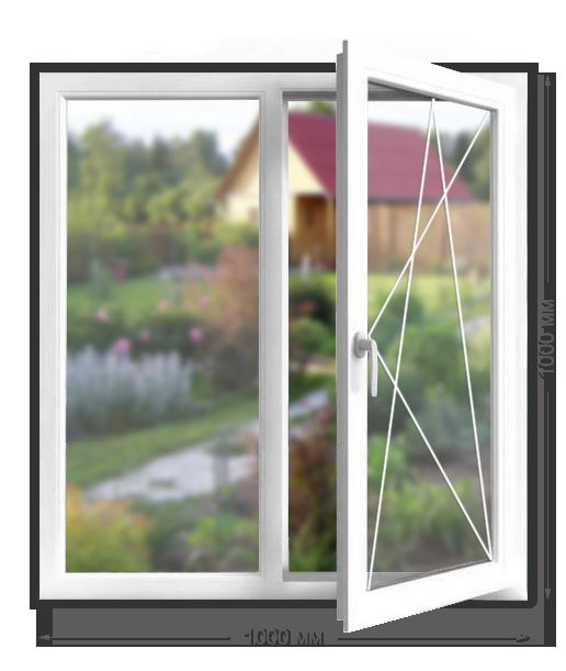 Дачное окно «Novotex» двухстворчатое поворотно-откидное 1000x1000 мм